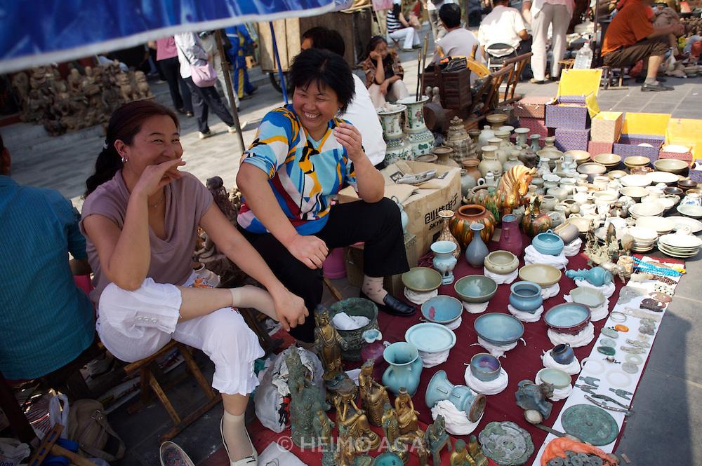 Panjiayuan weekend market. Open air flea market section.