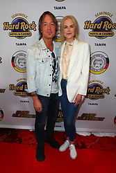 EXCLUSIVE: Nicole Kidman and Kieth Urban attend the Grand Celebration event at Seminole Hard Rock Hotel & Casino Tampa, during the New hotel opening ceremony. During the ceremony in the happy couple watched as Nik Wallenda and his mother Delilah perform their high wire act between the two buildings of the Hard Rock. At times Nichole was seen hiding her eyes in fright as the high wire duo walked the tightrope. When the performance was finished the couple clapped, cheered, and hugged each other as they did throughout the performance. 03 Oct 2019 Pictured: Nicole Kidman and Kieth Urban. Photo credit: Ralph Notaro / MEGA TheMegaAgency.com +1 888 505 6342