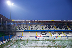 CESENA, ITALY - Tuesday, January 22, 2019: Wales take on Italy in on a snow covered pitch during the International Friendly between Italy and Wales at the Stadio Dino Manuzzi. (Pic by David Rawcliffe/Propaganda)