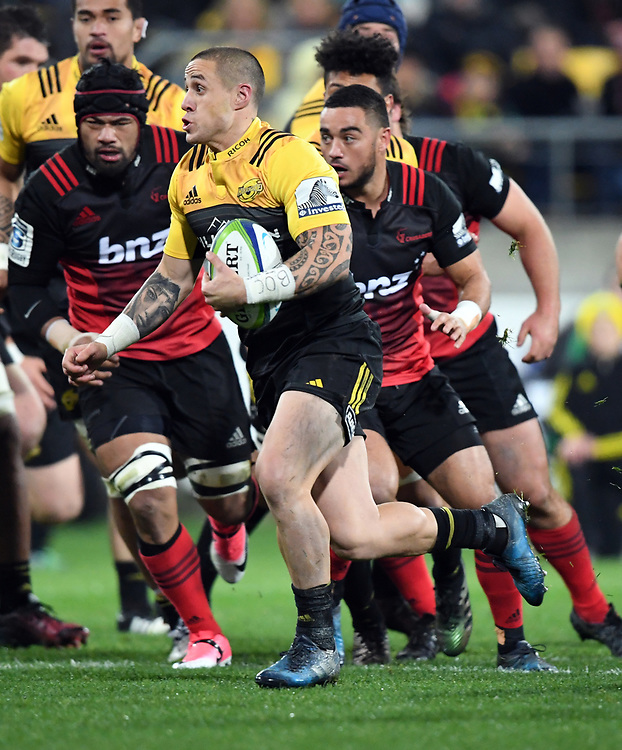 Hurricanes TJ perenara against the Crusaders in Super Rugby match at Westpac Stadium, Wellington, New Zealand, Saturday, July 15, 2017. Credit:SNPA / Ross Setford  **NO ARCHIVING""