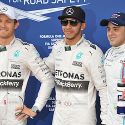 Pole sitters;<br /> Pole; Lewis Hamilton, Mercedes AMG Petronas F1 Team.<br /> 2nd; Nico Rosberg, Mercedes AMG Petronas F1 Team.<br /> 3rd; Felipe Massa, Williams Martini F1 Team.<br /> Round 1 - Third day of the 2015 Formula 1 Rolex Australian Grand Prix at The circuit of Albert Park, Melbourne, Victoria on the 14th March 2015.<br /> Wayne Neal | SportPix.org.uk