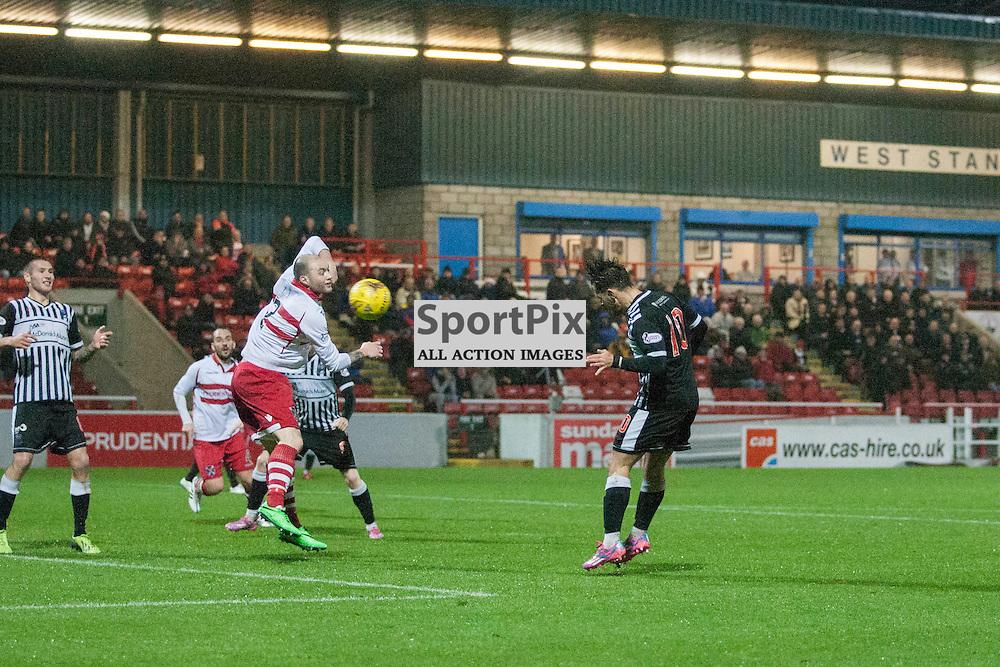 Dylan Easton with a header in on goal in the Stirling Albion v Elgin City Forthbank 05 December 2015<br /> <br /> (c) Russell G Sneddon / SportPix.org.uk