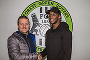 Forest Green Rovers manager, Mark Cooper with Shamir Mullings, Forest Green Rovers new Signing pictured at the New Lawn, Forest Green, United Kingdom on 30 November 2016. Photo by Shane Healey.