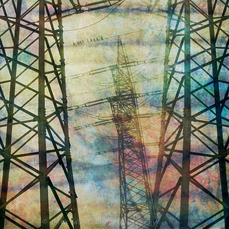 heavily textured and manipulated shot of pylons &amp; power lines.<br />