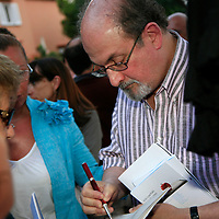 Salman Rushdie, photographed in Italy<br /> <br /> copyright Steve Bisgrove/Writer Pictures<br /> contact +44 (0)20 822 41564<br /> info@writerpictures.com<br /> www.writerpictures.com