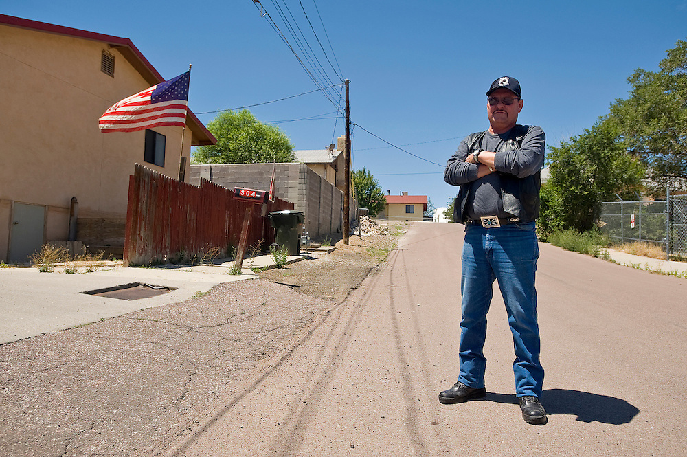 072612       Brian Leddy.Steve Garcia stands in front of his home on what will soon be known as Garcia Street. Situated between Morgan and Logan near Third and Fourth Streets, the street is named after the Garcia family.