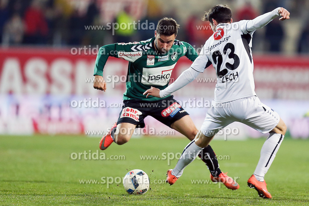 12.03.2016, Keine Sorgen Arena, Ried, AUT, 1. FBL, SV Josko Ried vs SCR Altach, 27. Runde, im Bild v.l. Dieter Elsneg (SV Josko Ried), Benedikt Zech (Cashpoint SCR Altach) // during the Austrian Football Bundesliga 27th Round match between SV Josko Ried and SCR Altach at the Keine Sorgen Arena in Ried, Austria on 2016/03/12. EXPA Pictures © 2016, PhotoCredit: EXPA/ Roland Hackl