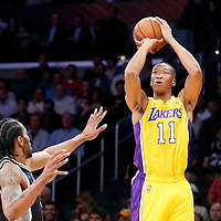 19 March 2014: Los Angeles Lakers forward Wesley Johnson (11) takes a jump shot during the San Antonio Spurs 125-109 victory over the Los Angeles Lakers at the Staples Center, Los Angeles, California, USA.