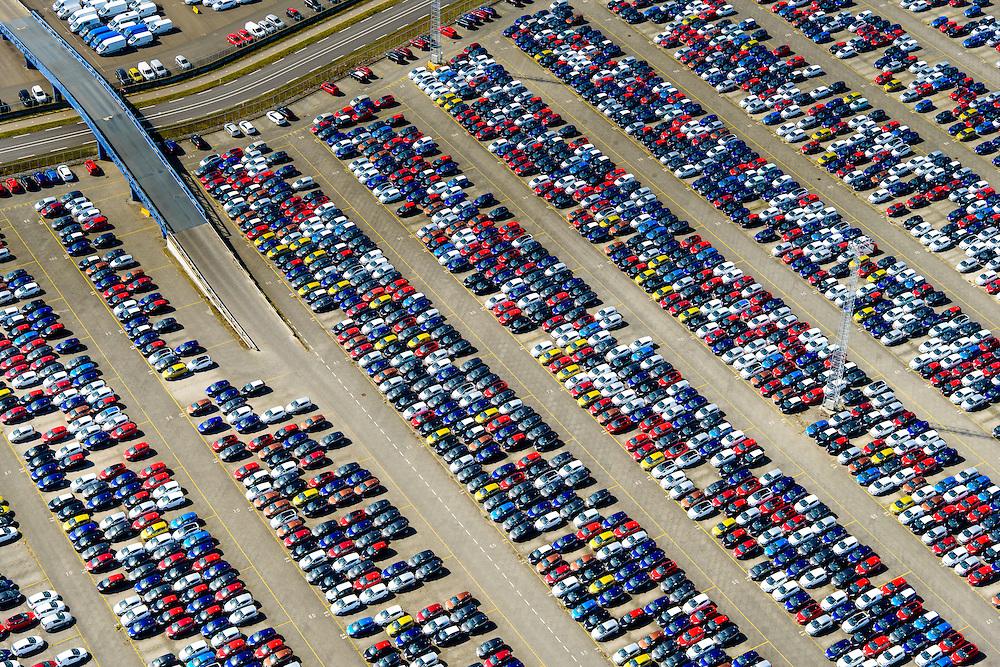 Nederland, Zeeland, Vlissingen, 01-04-2016; Sloehaven, auto-overslag Cobelfret met de RoRo Terminal vol auto's die wachten op vervoer. Port of Vlissingen, the roro terminal of Cobelfret Car transshipment. Cars waiting for transport.<br /> <br /> luchtfoto (toeslag op standard tarieven);<br /> aerial photo (additional fee required);<br /> copyright foto/photo Siebe Swart