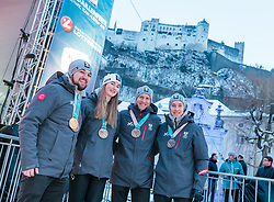27.02.2018, Salzburg, AUT, PyeongChang 2018, ÖOC Medaillenfeier, im Bild v.l.: David Gleirscher, Madeleine Egle, Bernhard Gruber, Mario Seidl // during a ÖOC medal celebration Party after the Olympic Winter Games Pyeongchang 2018 in Salzburg, Austria on 2018/02/27. EXPA Pictures © 2018, PhotoCredit: EXPA/ JFK