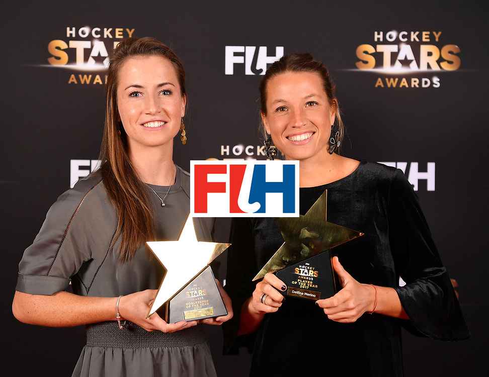 BERLIN, GERMANY - FEBRUARY 05:  Maddie Hinch  of England and Delfina Merino  of Argentina  with their awards during the Hockey Star Awards night at Stilwerk on February 5, 2018 in Berlin, Germany.  (Photo by Stuart Franklin/Getty Images For FIH)