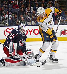 November 7, 2017 - Columbus, OH, USA - Columbus Blue Jackets goalie Joonas Korpisalo (70) makes a save on a shot by the Nashville Predators' Colton Sissons (10) during the second period at Nationwide Arena on November 7, 2017. (Credit Image: © Kyle Robertson/TNS via ZUMA Wire)