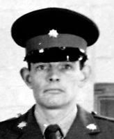 Private Roger Wilkins, from Hastings, Sussex, England, who was shot by a Provisional IRA sniper in Bishop Street, Londonderry, on 27th September 1971. He died from his injury in the Royal Victoria Hospital, Belfast, on 11th October 1971. 197110110401<br /> <br /> Copyright Image from Victor Patterson, 54 Dorchester Park, Belfast, UK, BT9 6RJ<br /> <br /> t1: +44 28 9066 1296 (from Rep of Ireland 048 9066 1296)<br /> t2: +44 28 9002 2446 (from Rep of Ireland 048 9002 2446)<br /> m: +44 7802 353836<br /> <br /> e1: victorpatterson@me.com<br /> e2: victorpatterson@gmail.com<br /> <br /> The use of my copyright images is subject to my Terms & Conditions.<br /> <br /> It is IMPORTANT that you familiarise yourself with them. They are available on my website at www.victorpatterson.com.<br /> <br /> None of my copyright images may be used on a website unless they are visibly watermarked, i.e. © Victor Patterson within the body of the visible image. Metadata denoting my copyright must NOT be deleted. <br /> <br /> Web use is extra at currently recommended NUJ rates.