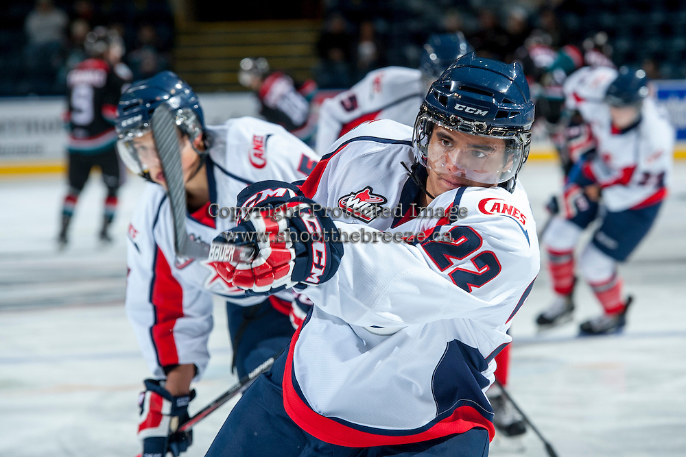 KELOWNA, CANADA - OCTOBER 16: Lenny Hackman #22 of the Lethbridge Hurricanes warms up against the Kelowna Rockets on October 16, 2013 at Prospera Place in Kelowna, British Columbia, Canada.   (Photo by Marissa Baecker/Shoot the Breeze)  ***  Local Caption  ***