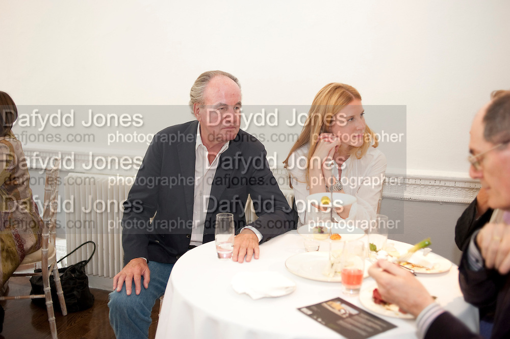 FRANZ VON PERFALL; JOSEPHINE VON PERFALL, Pablo Bronstein, Sketches for Regency Living. Discussion and lunch. ICA. The Mall. London. 7 June 2011. <br /> <br />  , -DO NOT ARCHIVE-© Copyright Photograph by Dafydd Jones. 248 Clapham Rd. London SW9 0PZ. Tel 0207 820 0771. www.dafjones.com.