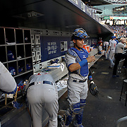 NEW YORK, NEW YORK - June 30: Catcher Willson Contreras #40 of the Chicago Cubs in the dugout preparing to catch during the Chicago Cubs Vs New York Mets regular season MLB game at Citi Field on June 30, 2016 in New York City. (Photo by Tim Clayton/Corbis via Getty Images)