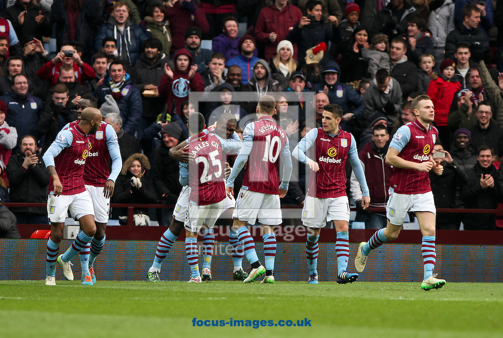 Jores Okore (4th left) of Aston Villa celebrates scoring his sides first goal with his team mates during the Barclays Premier League match at Villa Park, Birmingham<br /> Picture by Tom Smith/Focus Images Ltd 07545141164<br /> 07/02/2015