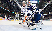 VICTORIA B.C. - JANUARY 23: Victoria Royals forward Brandon Magee watches the puck slide past Kamloops Blazers goaltender Cole Kehler. The Royals beat the Blazers 6-0 at the Save-On-Foods Memorial Centre in Victoria, British Columbia, Canada. (Photo by Kevin Light/Victoria Royals)