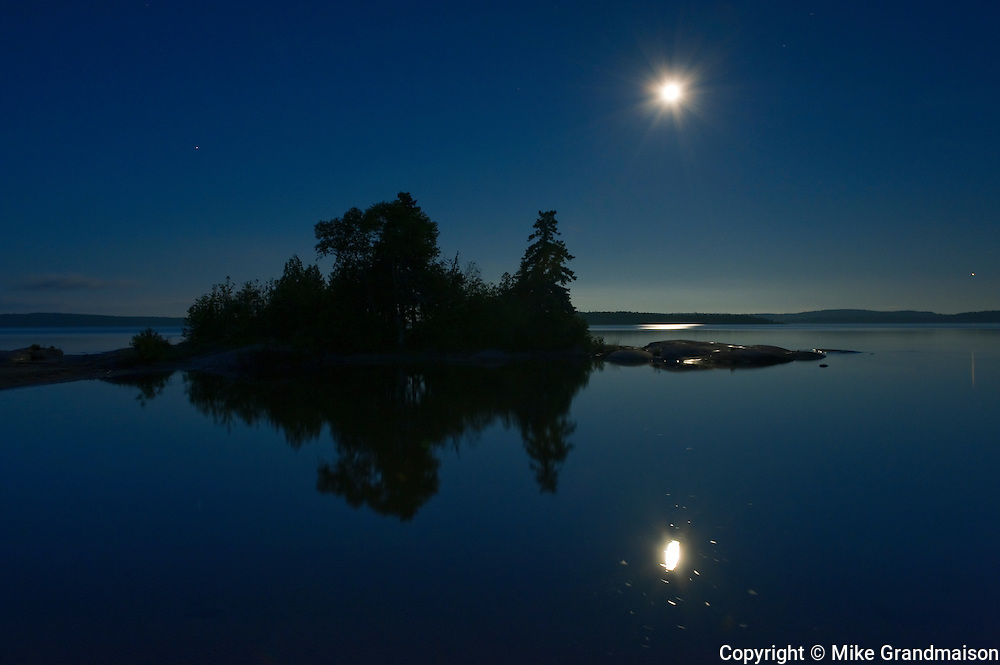 island and moon settting over Lake Superior<br /> Rossport<br /> Ontario<br /> Canada