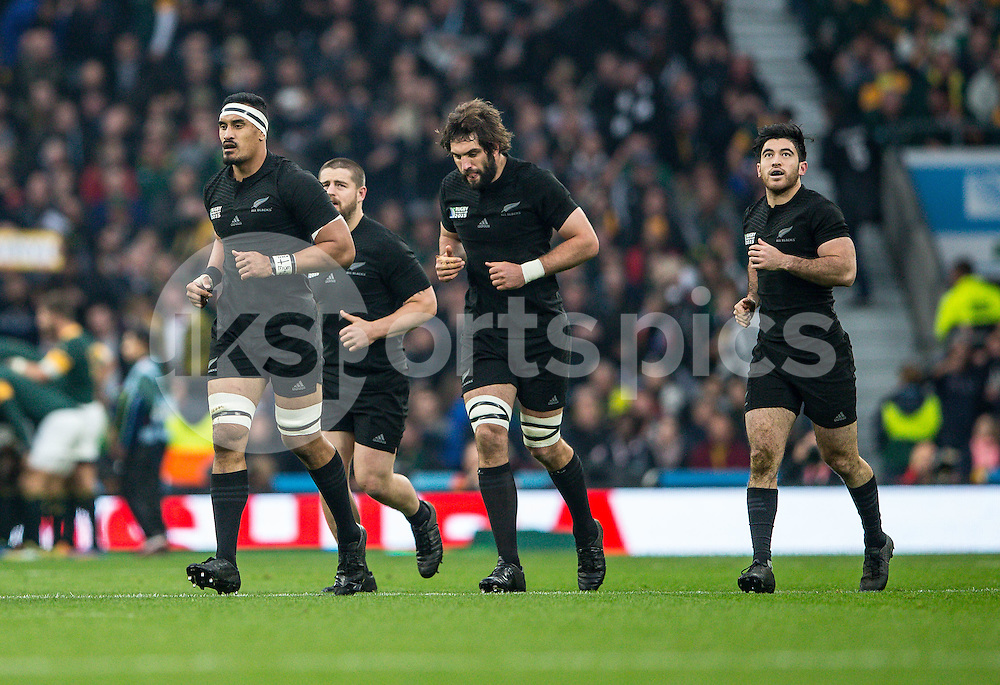 Jerome Kaino of New Zealand celebrates his try during the Rugby World Cup Semi Final match between South Africa and New Zealand played at Twickenham Stadium, London on the 24th of October 2015. Photo by Liam McAvoy