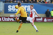 Greg Taylor and Jack Barthram during the EFL Sky Bet League 2 match between Cambridge United and Cheltenham Town at the R Costings Abbey Stadium, Cambridge, England on 26 November 2016. Photo by Antony Thompson.