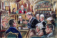 (COPYRIGHT)PRISCILLA COLEMAN-ITN NEWS..PIC SHOWS: ORLANDO POWNALL Q.C, SUMMING UP HIS PROSECUTION CASE IN THE JILL DANDO MURDER TRIAL. BARRY GEORGE IS ON TRIAL FOR THE MURDER OF TV PRESENTER JILL DANDO. (BOTTOM LEFT) BARRY GEORGE, (BOTTOM RIGHT) ALAN FARTHING..ILLUSTRATION: PRISCILLA COLEMAN