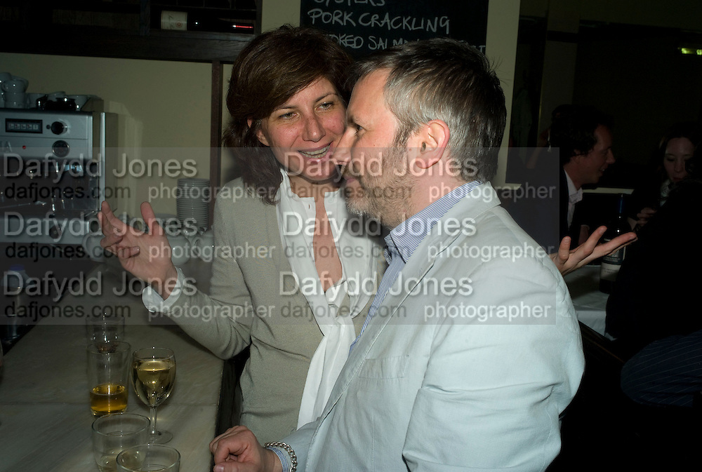 STEFANIA BORTOLAMI AND JAKE MILLER, Exhibition of New sculptures by Gary webb incorporating man-made and natural objects. The Approach, Mortimer St. London. 15 May 2008. Afterwards at Mark Hix's restaurant. Smithfield.  *** Local Caption *** -DO NOT ARCHIVE-© Copyright Photograph by Dafydd Jones. 248 Clapham Rd. London SW9 0PZ. Tel 0207 820 0771. www.dafjones.com.