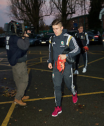 WREXHAM, WALES - Tuesday, November 17, 2015: Wales' captain Declan John arrives before the UEFA Under-21 Championship Qualifying Group 5 match against Romania at the Racecourse Ground. (Pic by David Rawcliffe/Propaganda)