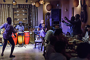Tokyo, Japan, July 7 2017 - Japanese and African customers can enjoy African music and food at Calabash restaurant