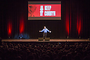 Jeremy Corbyn MP leader of the labour party speaking at the #KeepCorbyn event , part of the #JC4PM tour a fringe event orgainised as part of the TUC 2016 by PCS. Brighton, UK.