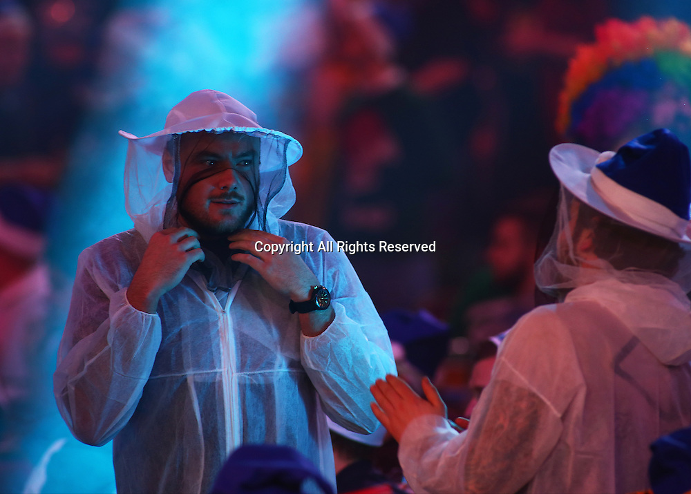 23.12.2016. Alexandra Palace, London, England. William Hill PDC World Darts Championship. Fans dressed as Beekeepers prepare for the match between Mervyn King and Michael Smith