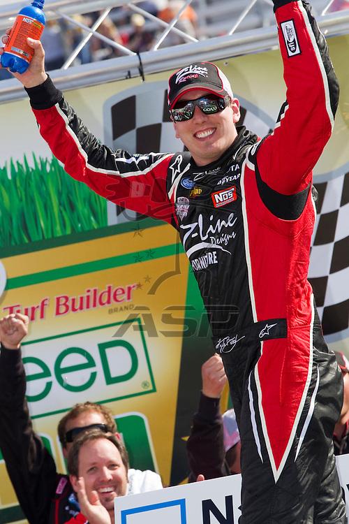 BRISTOL, TN - MAR 19, 2011:  Kyle Busch (18) wins the Scotts EZ Seed 300 race at the Bristol Motor Speedway in Bristol, TN.