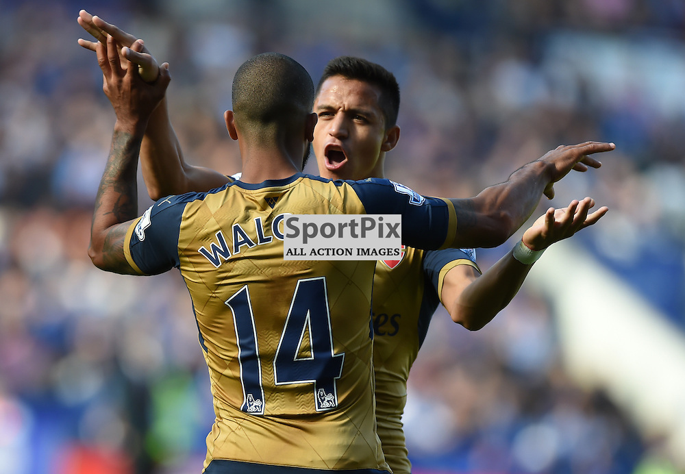 Alexis Sanchez is first to congratulare Theo Walcott after he scores the equaliser for Arsenal (c) Simon Kimber   SportPix.org.uk