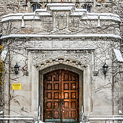 The front door to Johnston Hall at the University of Guelph, during winter. Photo by Mido Melebari