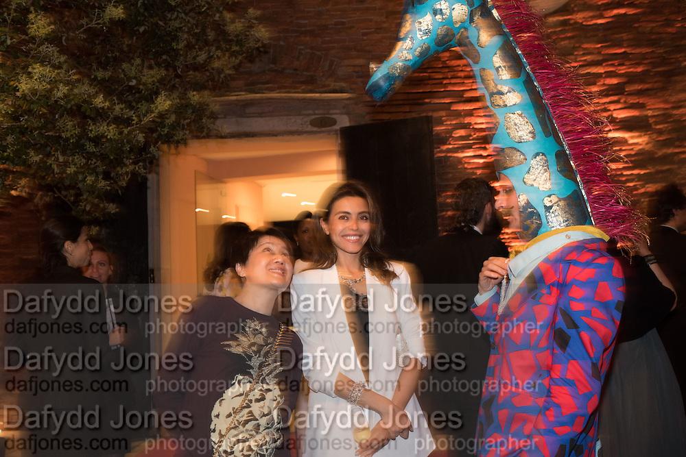 ANGELA LEONG; NINA MOADDEL; GIANNI GIRAFFE,  Venetian Heritage Gala Dinner Dance.  Hotel  Cipriani,, Venice Biennale, Venice. 9 May 2015