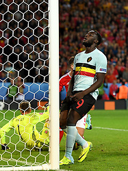 Romelu Lukaku of Belgium reacts to a missed chance  - Mandatory by-line: Joe Meredith/JMP - 01/07/2016 - FOOTBALL - Stade Pierre Mauroy - Lille, France - Wales v Belgium - UEFA European Championship quarter final