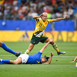 Tameka Yallop of Austalia and Andressa of Brazil during the Women's World Cup match between Australia and Brazil at Stade de la Mosson on June 13, 2019 in Montpellier, France. (Photo by Alexandre Dimou/Icon Sport)