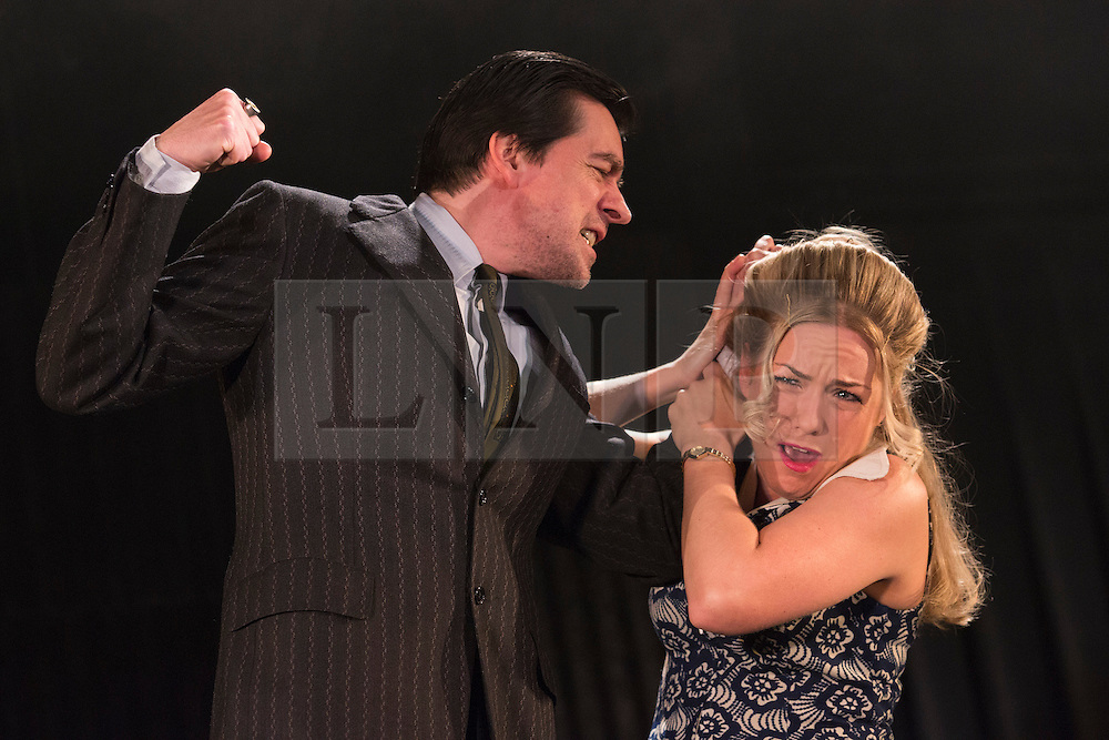 "© Licensed to London News Pictures. 23/10/2012. London, England. James Clyde as Michael and Claire-Louise Cordwell as Maura. A new stage adaptation to celebrate the 20th anniversary of Martina Cole's first bestselling novel ""Dangerous Lady"" opens at the Theatre Royal Stratford East. Directed by Lisa Goldman it will run to November 17th. The title role is played by Claire-Louse Cordwell (as Maura). Photo credit: Bettina Strenske/LNP"