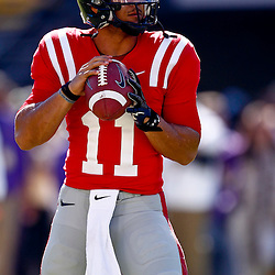 November 17, 2012; Baton Rouge, LA, USA  Ole Miss Rebels quarterback Barry Brunetti (11) during warm ups prior to kickoff of a game against the LSU Tigers at Tiger Stadium. LSU defeated Ole Miss 41-35. Mandatory Credit: Derick E. Hingle-US PRESSWIRE