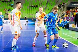 Mykola Grytsyna of Ukraine during futsal match between Ukraine and Spain in Quaterfinals of UEFA Futsal EURO 2018, on February 6, 2018 in Arena Stozice, Ljubljana, Slovenia. Photo by Ziga Zupan / Sportida