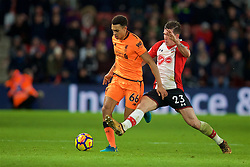 SOUTHAMPTON, ENGLAND - Sunday, February 11, 2018: Liverpool's Trent Alexander-Arnold and Southampton's Pierre-Emile Hojbjerg during the FA Premier League match between Southampton FC and Liverpool FC at St. Mary's Stadium. (Pic by David Rawcliffe/Propaganda)