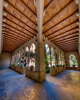 The cloister of the Santa Maria de Montserrat Abbey is the work of the architect Josep Puig i Cadafalch (in 1929). It is two floors supported by stone columns. The lower floor communicates with the garden and has a fountain in its central area.