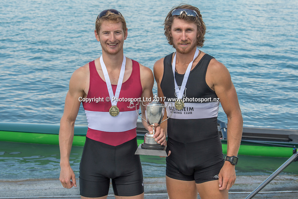 Tom Murray (right) and Jamie Hunter (Central RPC) - Premier pair final, NZ Rowing Championships, 17 February 2017 , Lake Ruataniwha © Copyright photo: Steve McArthur / www.photosport.nz