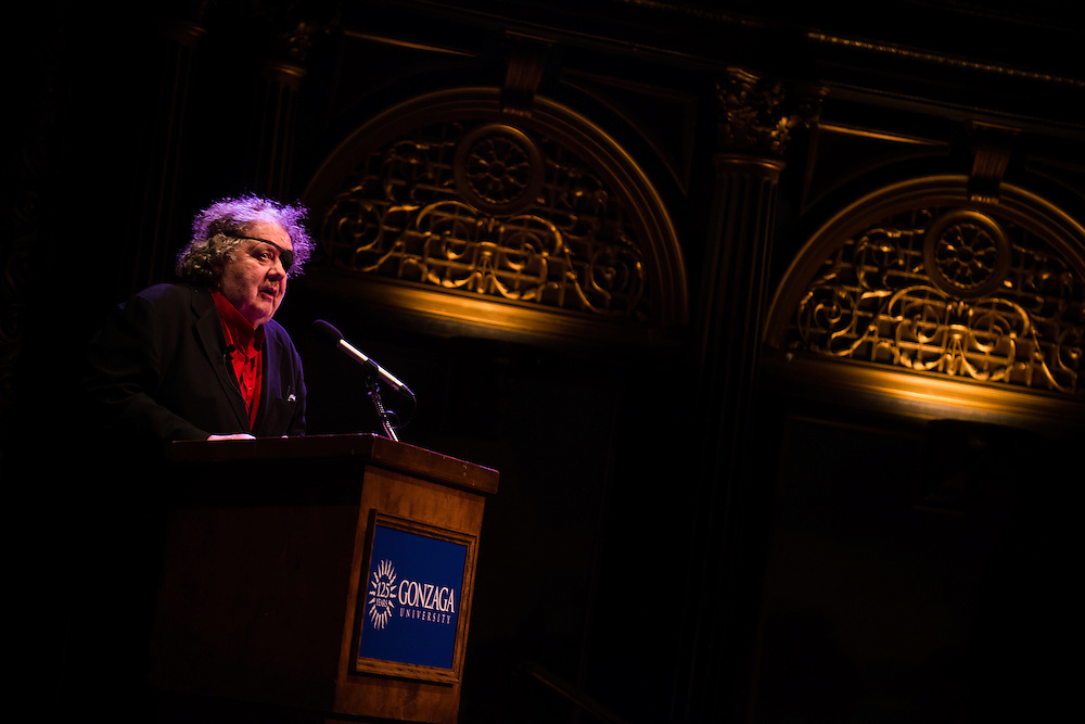 Dale Chihuly gives a presentation at the Bing Crosby Theater in Spokane. <br /> Photo by Rajah Bose
