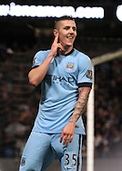 Stevan Jovetic of Manchester City celebrates scoring the second goal against Sunderland during the Barclays Premier League match at the Etihad Stadium, Manchester.<br /> Picture by Michael Sedgwick/Focus Images Ltd +44 7900 363072<br /> 01/01/2015