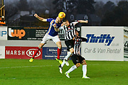 Jayden Stockley (11) of Exeter City heads the ball toward the goal while under pressure from Nathan Clarke (5) of Grimsby Town during the EFL Sky Bet League 2 match between Exeter City and Grimsby Town FC at St James' Park, Exeter, England on 11 November 2017. Photo by Graham Hunt.