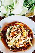 Som Tam (green papaya salad) at local restaurant in Dan Sai