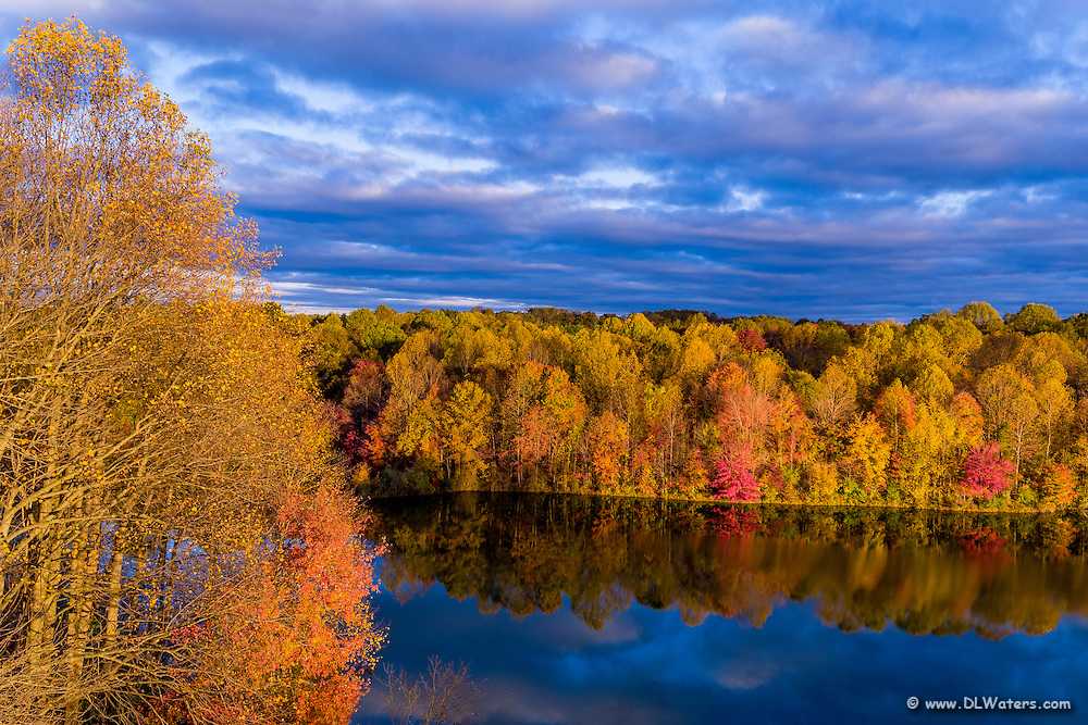 Colorful fall trees reflected in Centennial Lake near Ellicott City Maryland.
