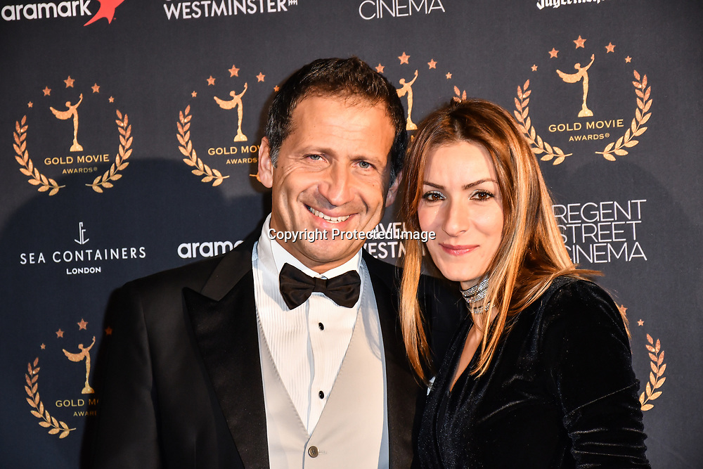 Actor Danielle Marcheggiani and wife Stefania Paoletti arrivers at Gold Movie Awards at Regents Street Theatre, on 9th January 2020, London, UK.