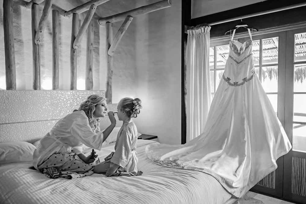 Bride and daughter before the wedding, photographed by Puerto Vallarta wedding photographer Michelle Turner.